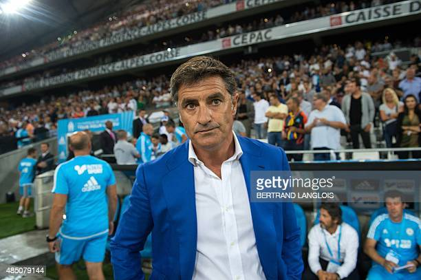 Marseille's Spanish head coach Jose Miguel Gonzalez Martin del Campo aka Michel looks on prior to the French L1 football match Olympique de Marseille...