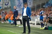 Marseille's Spanish head coach Jose Miguel Gonzalez Martin del Campo aka Michel looks on during the French L1 football match Olympique de Marseille...