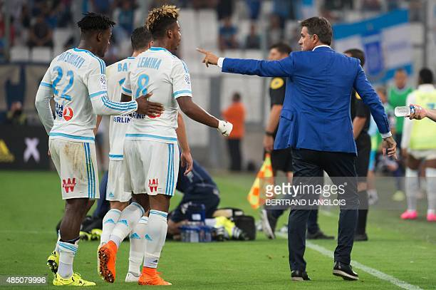 Marseille's Spanish head coach Jose Miguel Gonzalez Martin del Campo aka Michel gestures during the French L1 football match Olympique de Marseille...