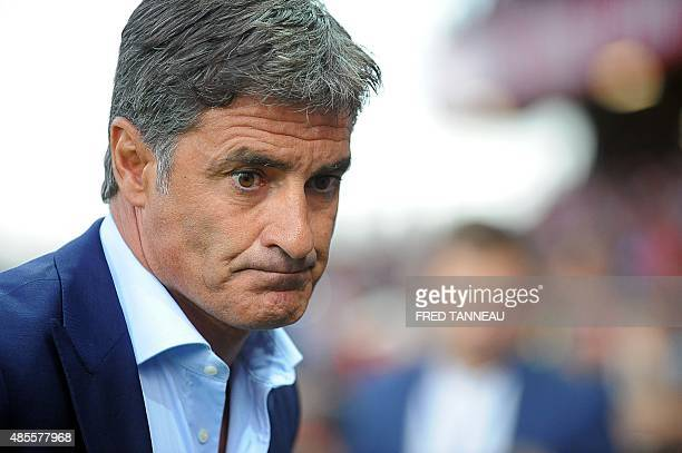 Marseille's Spanish head coach Jose Miguel Gonzalez Martin del Campo aka Michel looks on during the French L1 football match between Guingamp and...