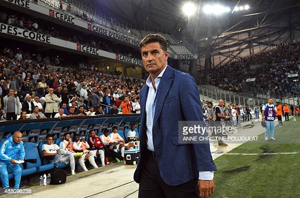 Marseille's Spanish head coach Jose Miguel Gonzalez Martin del Campo arrives on the pitch for the French L1 football match between Marseille and...