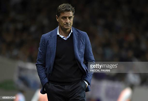 Marseille's Spanish head coach Jose Miguel Gonzalez Martin del Campo aka Michel reacts during the French L1 football match Toulouse vs Marseille on...
