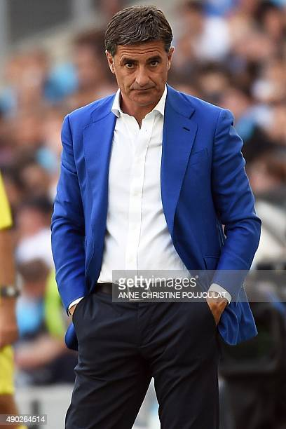 Marseille's Spanish head coach Jose Miguel Gonzalez Martin del Campo aka Michel reacts at the end of the French L1 football match between Marseille...