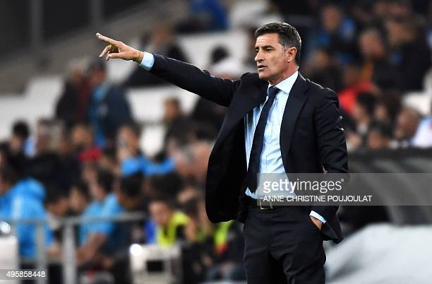 Marseille's Spanish head coach Jose Miguel Gonzalez Martin del Campo aka Michel reacts during the UEFA Europa League football match between Marseille...