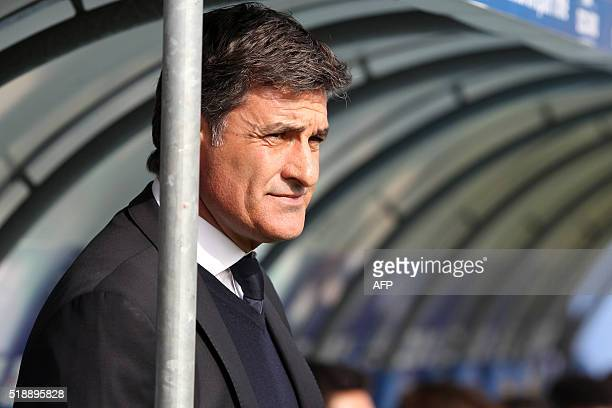 Marseille's Spanish head coach Jose Miguel Gonzalez Martin del Campo aka Michel stands on the sideline before the L1 football match Bastia against...