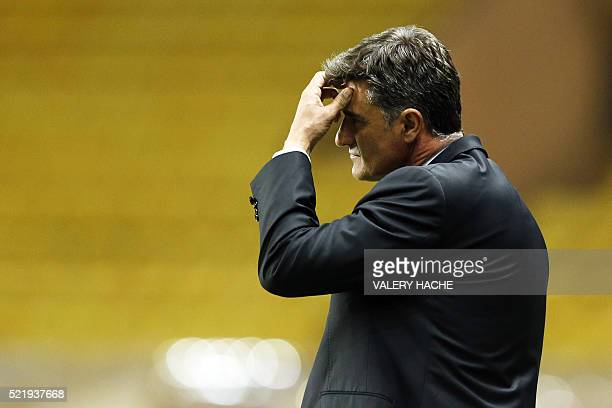 Marseille's Spanish head coach Jose Miguel Gonzalez Martin del Campo aka Michel reacts during the French L1 football match Monaco vs Marseille on...