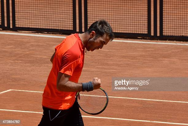 Marsel Ilhan of Turkey celebrates his victory after match against Gianluca Mager of Italy at Foro Italico in Rome Italy on May 10 for entering the...