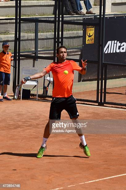 Marsel Ilhan of Turkey returns the ball to Gianluca Mager of Italy during their match at Foro Italico in Rome Italy on May 10 for entering the main...