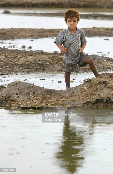 Marsh Arab child stands in a marsh area that is slowly being reflooded with water June 2 2003 in Suk Shuykuh Iraq The Marsh Arabs have inhabited the...