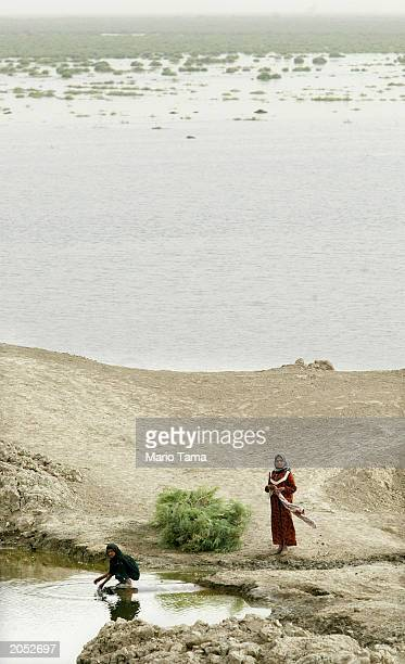 Marsh Arab children gather water in a marsh area that is slowly being reflooded with water June 3 2003 in AlFohud Iraq The Marsh Arabs have inhabited...