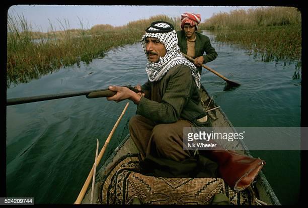 Marsh Arab men hunt coot from a canoe Iraq   Location The Marshes near Nasiriya Iraq