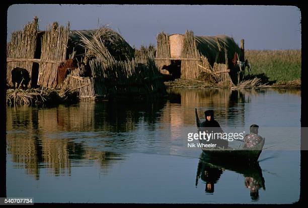 A Marsh Arab woman steers a tarada or canoe through the waters of the Marshes of Iraq | Location The Marshes near Nasiriya Iraq
