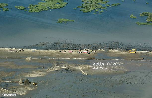 A marsh creation project stands near deteriorating wetlands on August 25 2015 in Plaquemines Parish Louisiana Louisiana is currently losing its...