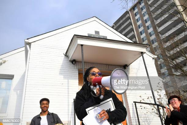 Marsha ColemanAdebayo talks to the crowd gathered at Macedonia Baptist Church February 12 2017 in Bethesda MD