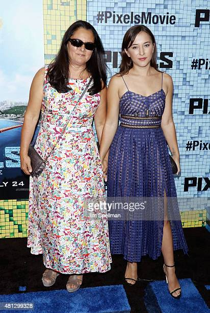 Marsha Garces and actress Zelda Rae Williams attend the 'Pixels' New York premiere at Regal EWalk on July 18 2015 in New York City