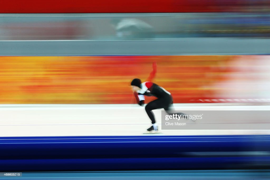 Marsha Hudey of Canada competes during the Women's 500m Race 1 of 2 Speed Skating event during day 4 of the Sochi 2014 Winter Olympics at Adler Arena Skating Center on February 11, 2014 in Sochi, Russia.