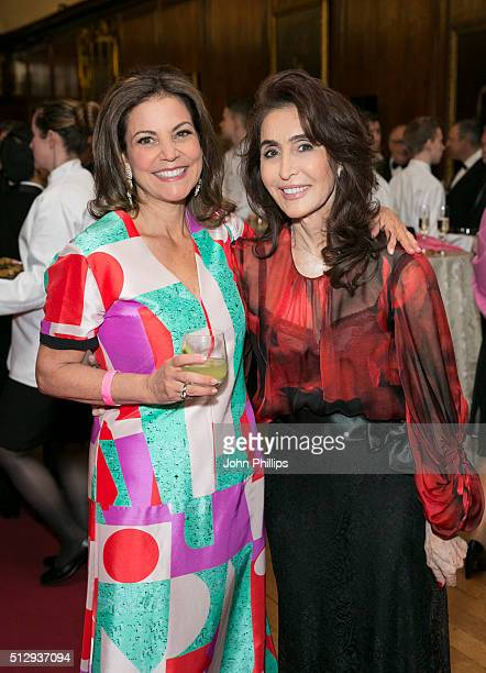 Marsha Lee and Denise Esfandi attend the British Friends' Of The IPO 80th Anniversary Celebration at Kensington Palace on February 28 2016 in London...