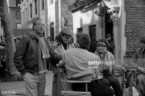 Marsha Mason and Neil Simon standing behind Beverly D'Angelo on a set circa 1970 New York