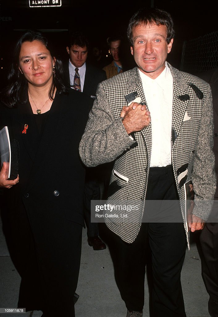 Marsha Williams and <a gi-track='captionPersonalityLinkClicked' href=/galleries/search?phrase=Robin+Williams&family=editorial&specificpeople=174322 ng-click='$event.stopPropagation()'>Robin Williams</a> during Los Angeles Premiere of 'Hoffa' to Benefit Tripod Hoffa at Academy Theatre in Beverly Hills, California, United States.
