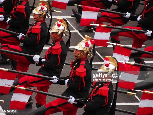 Marshal Domingo Nieto regiment marching on Military parade commemorating 196th anniversary of Peruvian independence