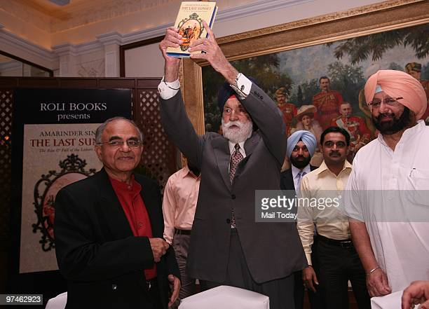 Marshal of the Air Force Arjan Singh with former Punjab Chief Minister Amarinder Singh and author Gurcharan Das during the launch of the book The...