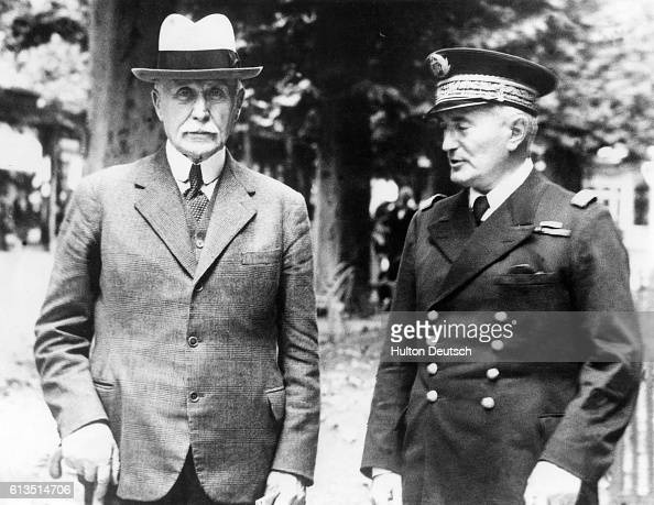 Marshal Petain with Admiral Darlan in the Vichy boulevard Marshal Petain had succeeded Paul Reynaud as the head of government in 1940 at the age of...