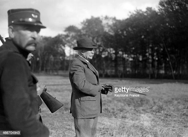 Marshal Philippe Petain at hunting party at the Chateau de Rambouillet where French President Albert Lebrun hosts the diplomatic corps on October 26...