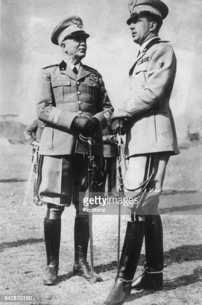 Marshal Pietro Badoglio CommanderinChief of the Italian Army with the Crown Prince of Italy later King Umberto II circa 1940