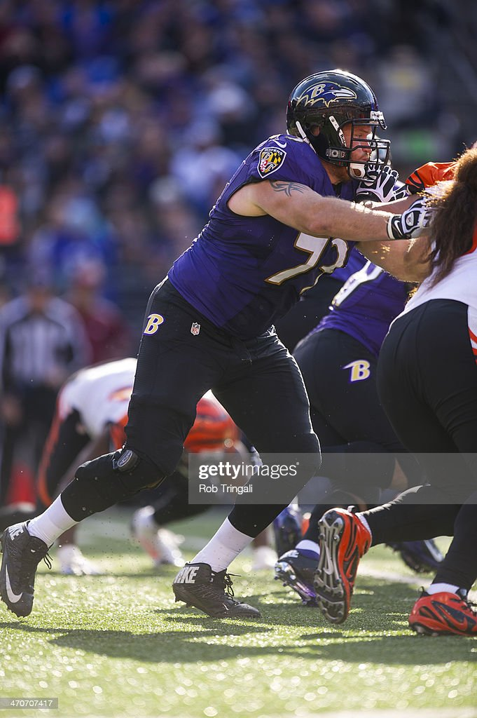 <a gi-track='captionPersonalityLinkClicked' href=/galleries/search?phrase=Marshal+Yanda&family=editorial&specificpeople=2206873 ng-click='$event.stopPropagation()'>Marshal Yanda</a> guard #73 of the Baltimore Ravens blocks during the game against the Cincinnati Bengals at M&T Bank Stadium on November 10, 2013 in Baltimore, Maryland