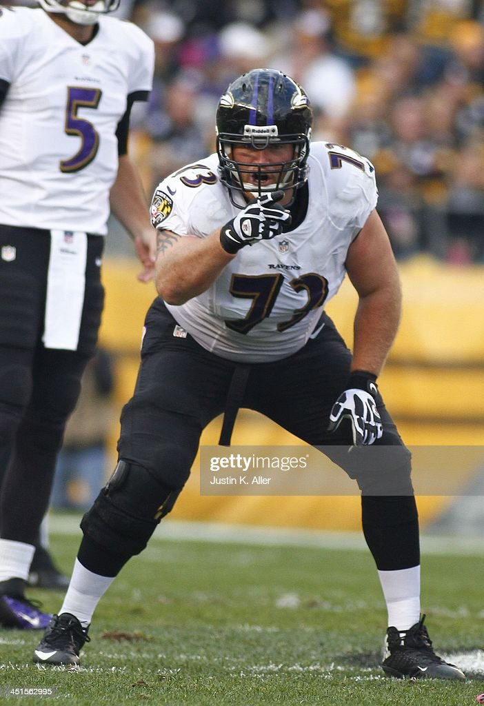 <a gi-track='captionPersonalityLinkClicked' href=/galleries/search?phrase=Marshal+Yanda&family=editorial&specificpeople=2206873 ng-click='$event.stopPropagation()'>Marshal Yanda</a> #73 of the Baltimore Ravens plays against the Pittsburgh Steelers during the game on October 20, 2013 at Heinz Field in Pittsburgh, Pennsylvania.