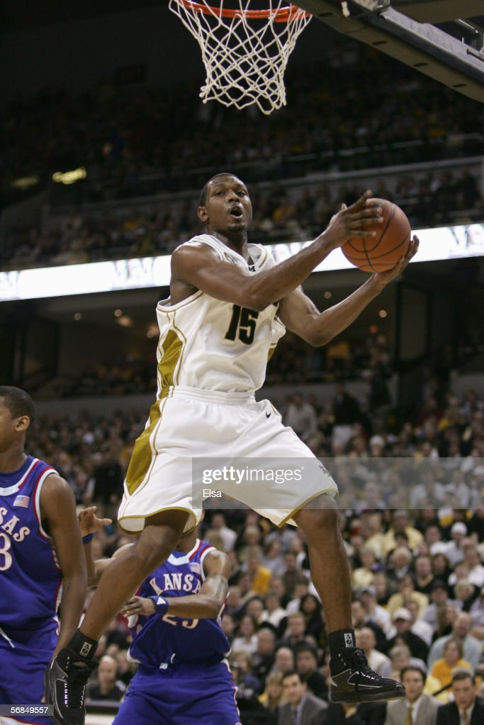 Marshall Brown of the Missouri Tigers makes a layup during the game against the Kansas Jayhawks on January 162006 at Mizzou Arena in Columbia...