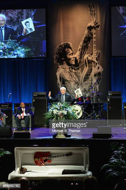Marshall Chess son of Chess Records founder Leonard Chess speaks during the memorial service for RocknRoll legend Chuck Berry at the Pageant Concert...
