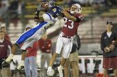 Marshall Hendricks of San Jose State intercepts a pass intended for Greg Camarillo of Stanford during the Stanford vs San Jose State game
