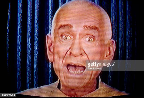 Marshall Herff Applewhite founder and coleader of the religious cult Heaven's Gate speaks to his followers via television