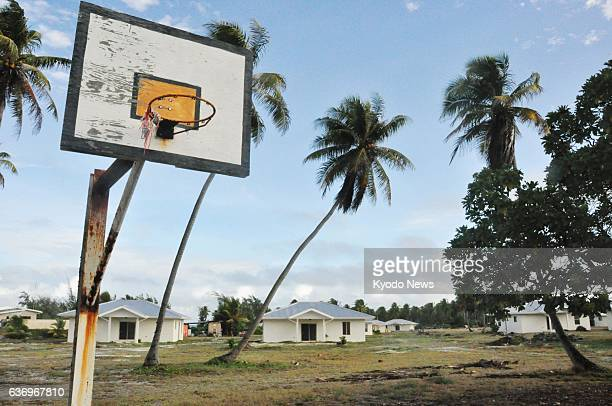 RONGELAP Marshall Islands A dilapidated basketball goal is pictured in March 2014 in Rongelap an atoll of the Marshall Islands that was severely...