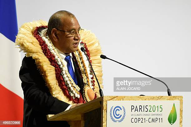 Marshall Islands' President Christopher J Loeak delivers a speech during the opening day of the World Climate Change Conference 2015 on November 30...