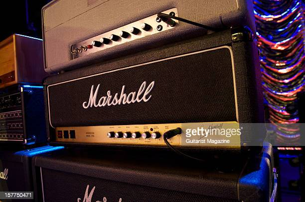 Marshall Model 2555 JCM 100/50w electric guitar amplifier head unit used by Joe Bonamassa photographed during a shoot for Guitarist Magazine March 30...