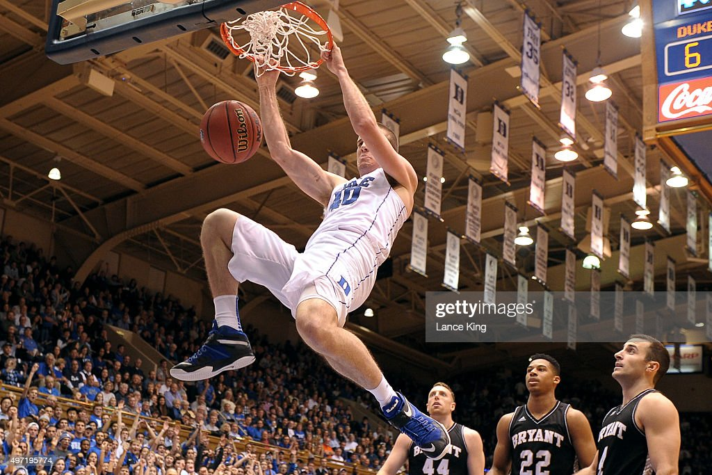 Marshall Plumlee of the Duke Blue Devils dunks against the Bryant Bulldogs at Cameron Indoor Stadium on November 14 2015 in Durham North Carolina...