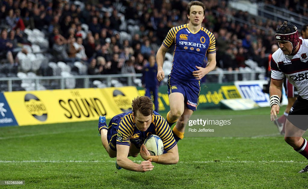 Marshall Suckling scores a try for Otago during the round eight ITM Cup match between Otago and North Harbour at Forsyth Barr Stadium on September 18, 2012 in Dunedin, New Zealand.