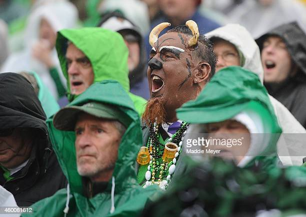 Marshall Thundering Herd fan cheers on his team during the first half against the Louisiana Tech Bulldogs at Joan C Edwards Stadium during the...