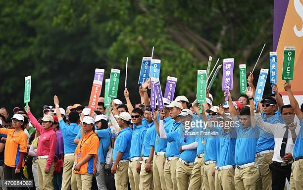 Marshalls keep fans quiet during the final round of the Shenzhen International at Genzon Golf Club on April 19 2015 in Shenzhen China
