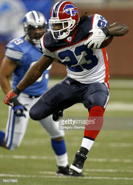 Marshawn Lynch of the Buffalo Bills looks for running room during a preseason game against the Detroit Lions on August 30 2007 at Ford Field in...