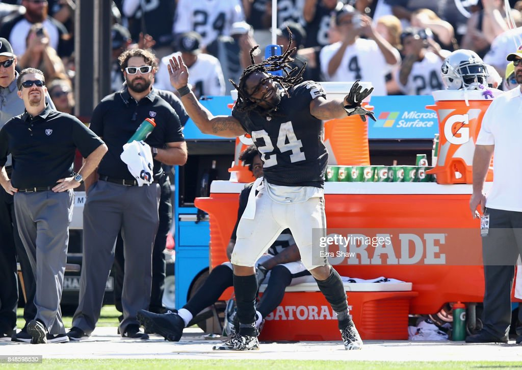 Marshawn Lynch #24 of the Oakland Raiders dances on the sideline during their win over the New York Jets at Oakland-Alameda County Coliseum on September 17, 2017 in Oakland, California.