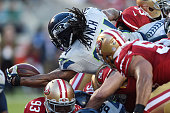 Marshawn Lynch of the Seattle Seahawks reaches for a touchdown against the San Francisco 49ers in the first quarter of their NFL game at Levi's...