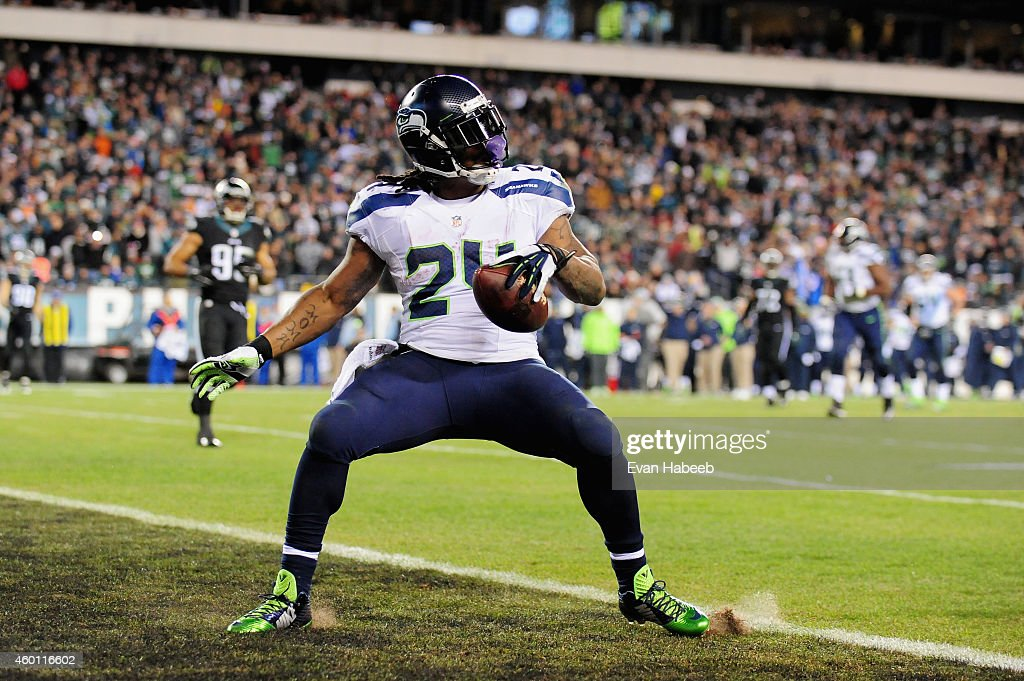 <a gi-track='captionPersonalityLinkClicked' href=/galleries/search?phrase=Marshawn+Lynch&family=editorial&specificpeople=2159904 ng-click='$event.stopPropagation()'>Marshawn Lynch</a> #24 of the Seattle Seahawks scores a touchdown against the Philadelphia Eagles during the third quarter of the game at Lincoln Financial Field on December 7, 2014 in Philadelphia, Pennsylvania.