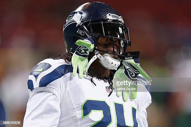 Marshawn Lynch of the Seattle Seahawks warms up prior to a game against the St Louis Rams at the Edward Jones Dome on September 13 2015 in St Louis...