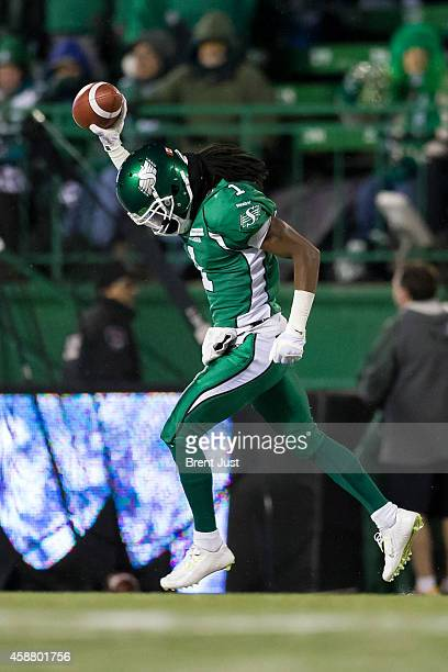 Marshay Green of the Saskatchewan Roughriders celebrates after recovering an Edmonton Eskimo fumble in a game between the Edmonton Eskimos and...