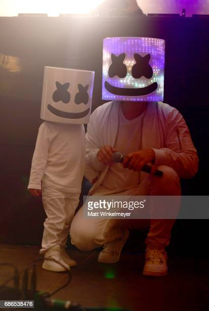 Marshmello and baby marshmello pose for a photo at the Boom Boom Tent during 2017 Hangout Music Festival on May 21 2017 in Gulf Shores Alabama