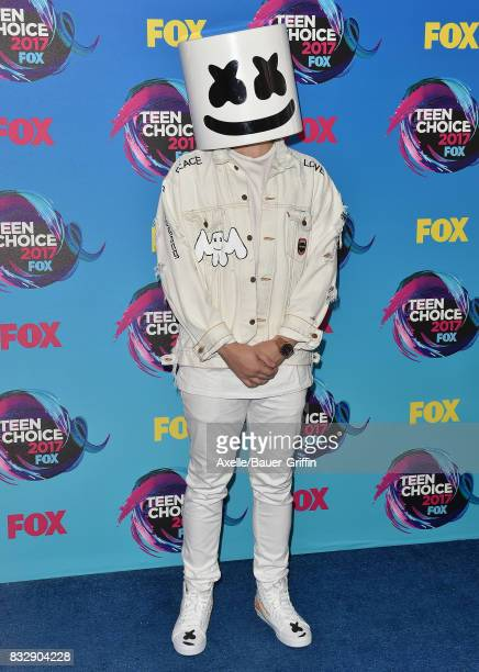 Marshmello arrives at the Teen Choice Awards 2017 at Galen Center on August 13 2017 in Los Angeles California