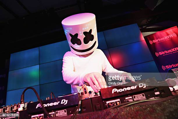Marshmello performs a private concert for SiriusXM listeners at the YouTube Space on November 18 2016 in New York City